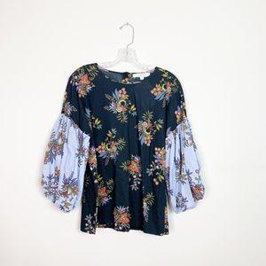 Loft | floral print balloon sleeve blouse size XS